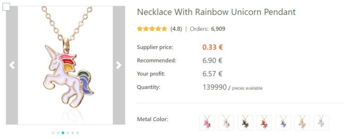 dropshipping collier licorne